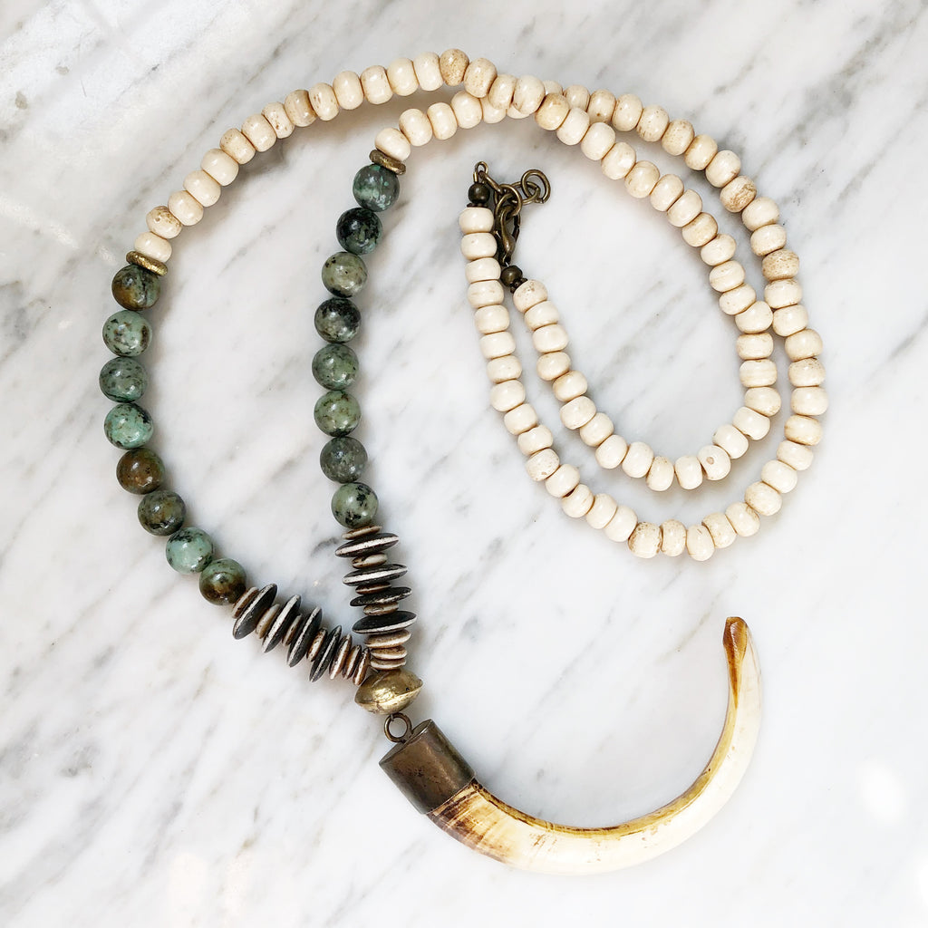 Astoria Necklace | African Turquoise + Nigerian Brass - burnmark