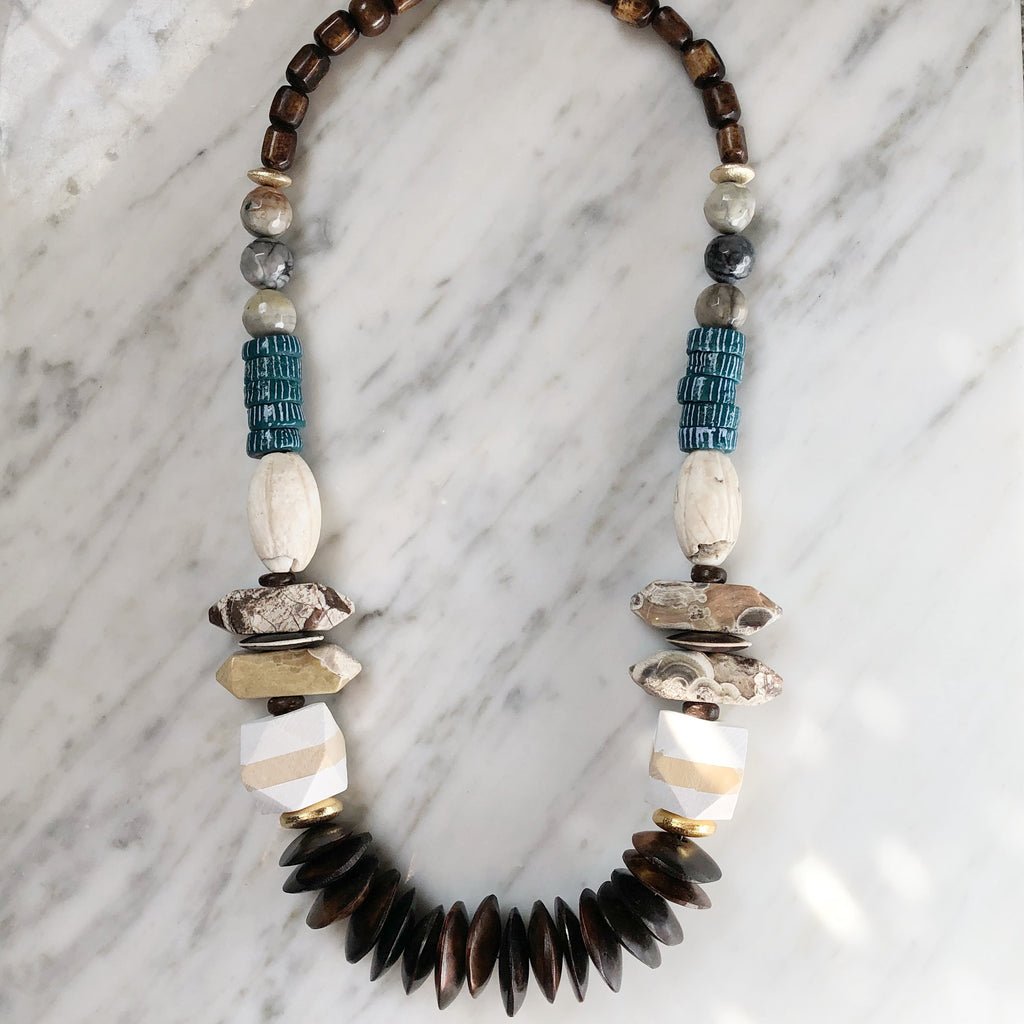 Leroy Necklace | Teal + Jasper - burnmark