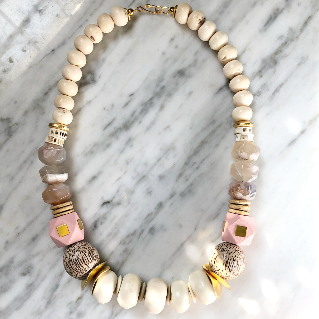 Leroy Necklace | Baby Pink + Quartz - burnmark