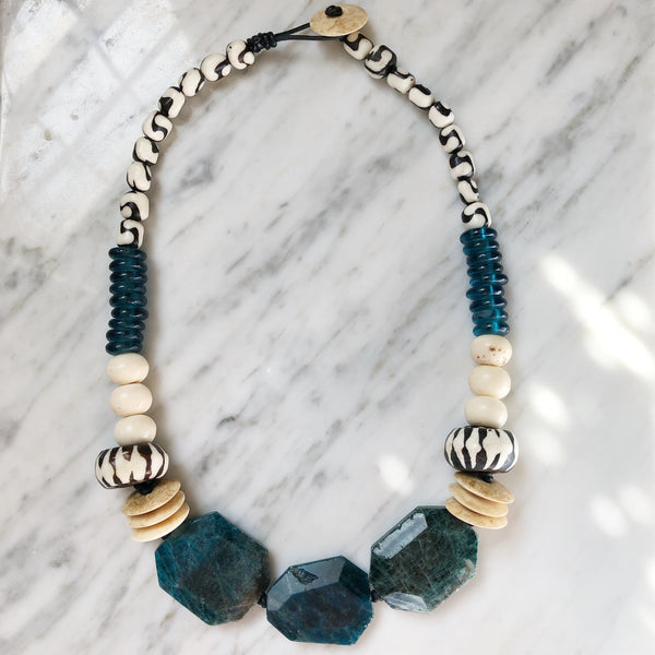Leroy Necklace | Teal + Batik Bone - burnmark
