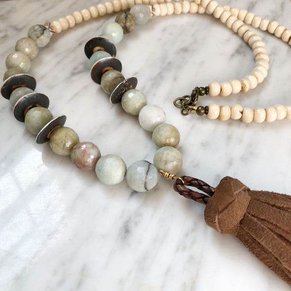 Clarkson Necklace | Amazonite + Bone - burnmark