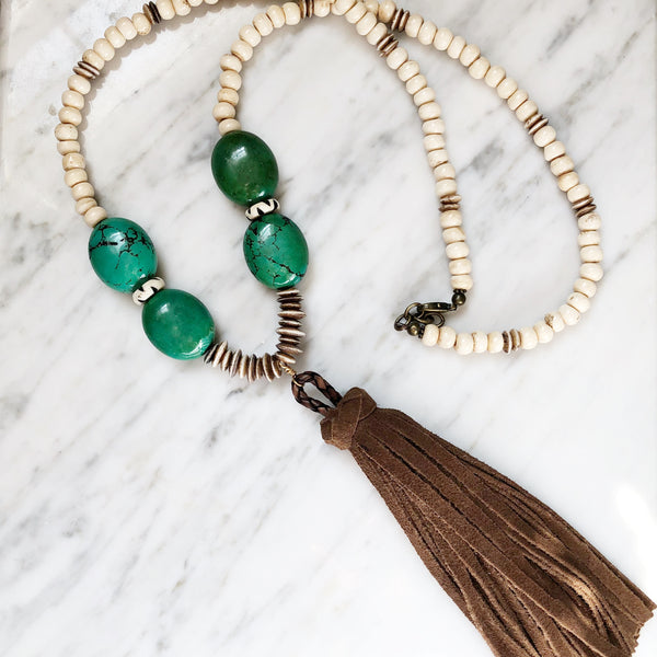 Clarkson Necklace | Green Onyx + Bone - burnmark
