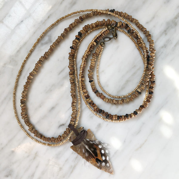 Arrowhead Necklace | Seed Beads + Feathers - burnmark