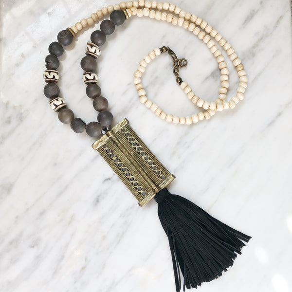 Clarkson Necklace | Druzy + African Brass - burnmark