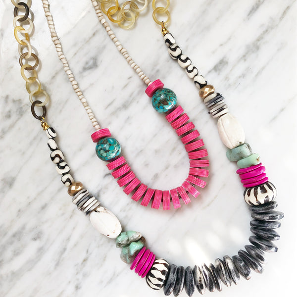 Leroy Necklace | Chrysoprase + Hot Pink - burnmark