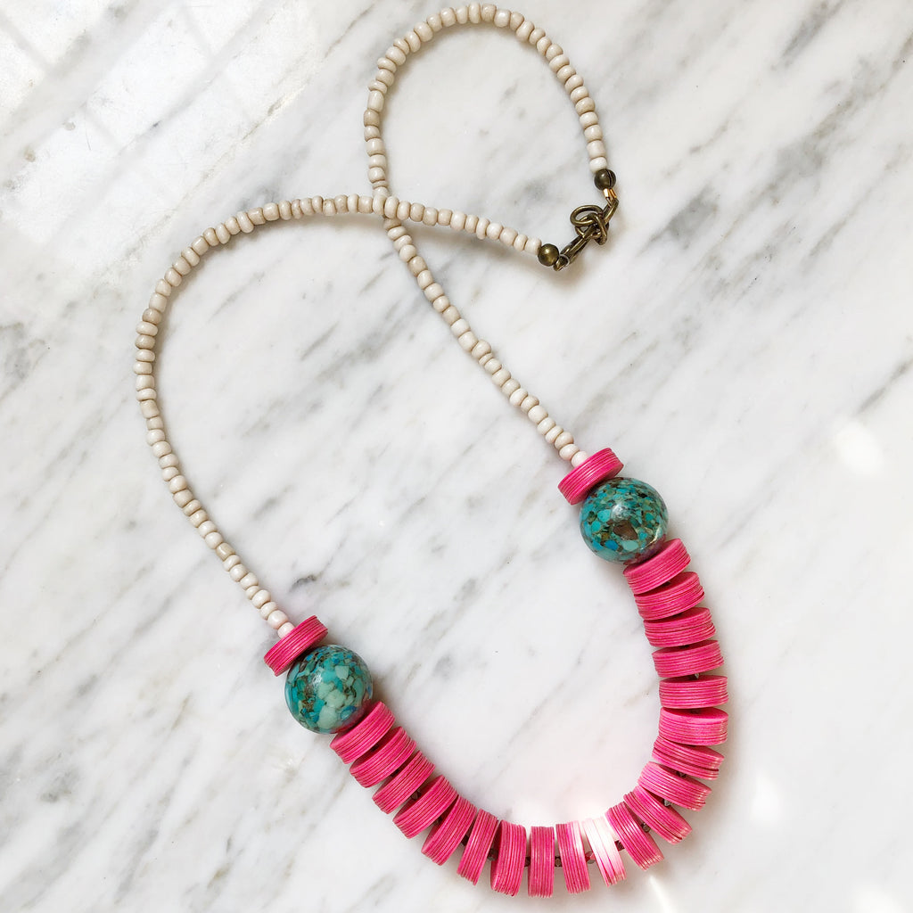Leroy Necklace | Turquoise + Hot Pink - burnmark