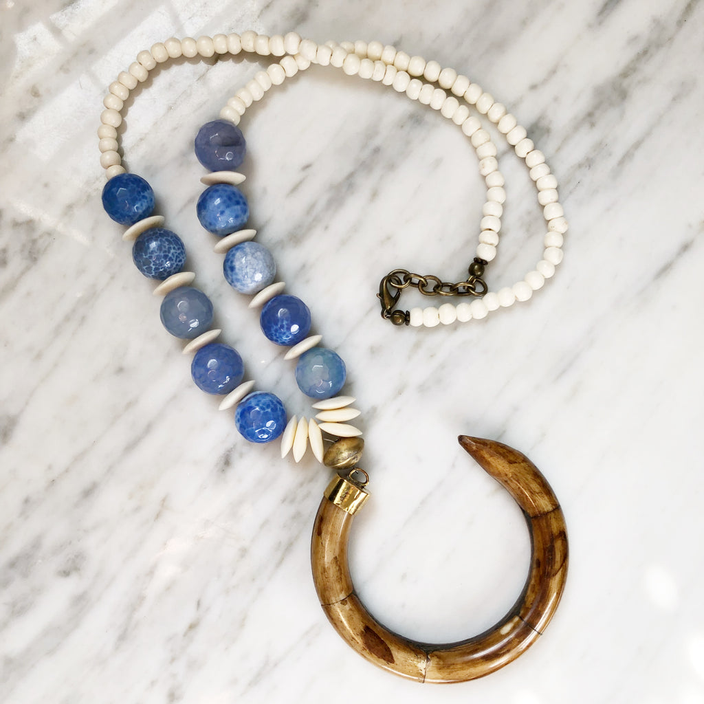 Perry Necklace |  Periwinkle + Nigerian Brass - burnmark