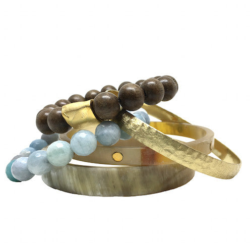 Horn Bangle Stack | Aquamarine - burnmark