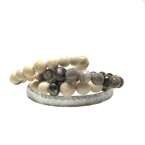Silver Bangle Stack | Fog - burnmark