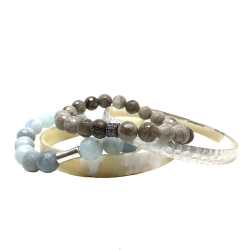 Horn Bangle Stack | Silver and Aquamarine - burnmark