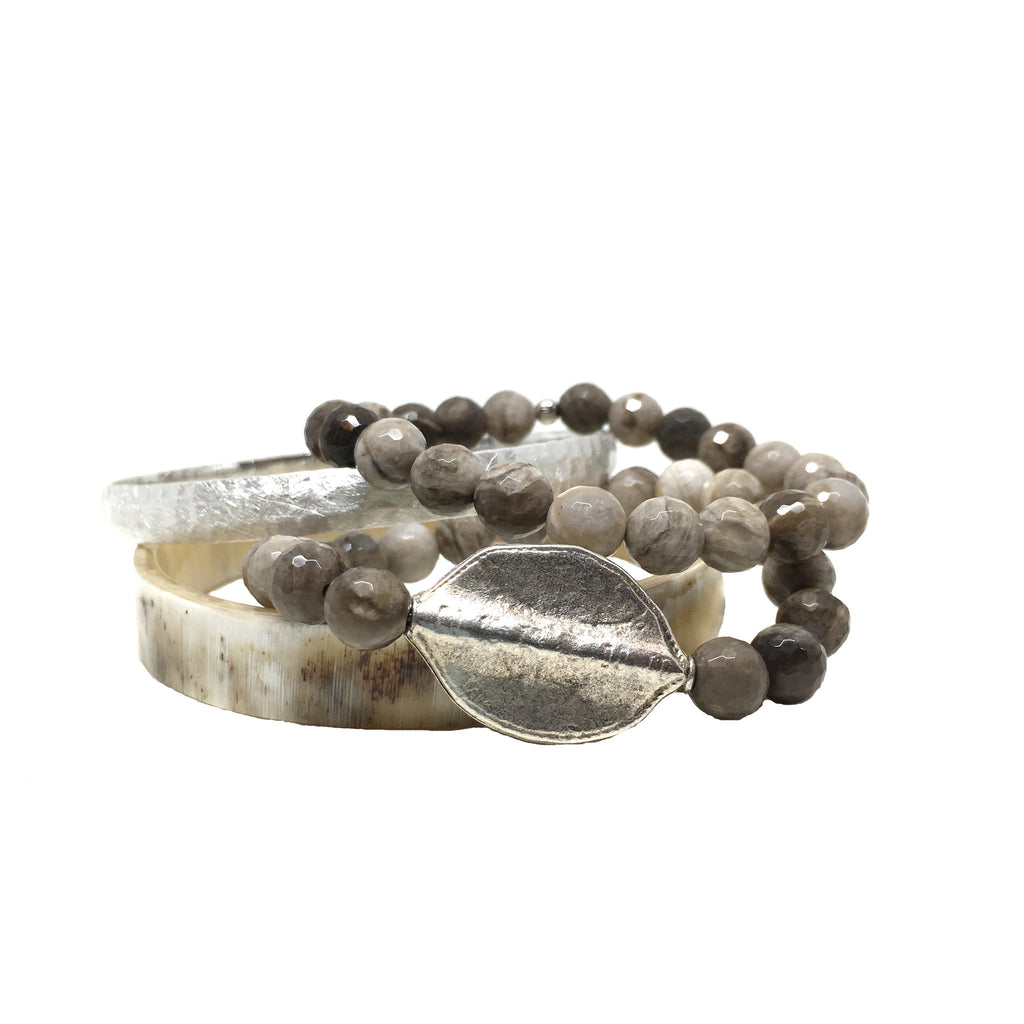 Horn Bangle Stack | Silver and Jasper - burnmark