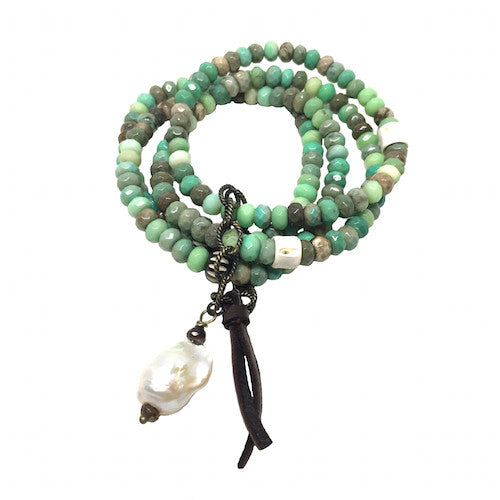 Green Grass Agate Stack | Baroque Pearl - burnmark