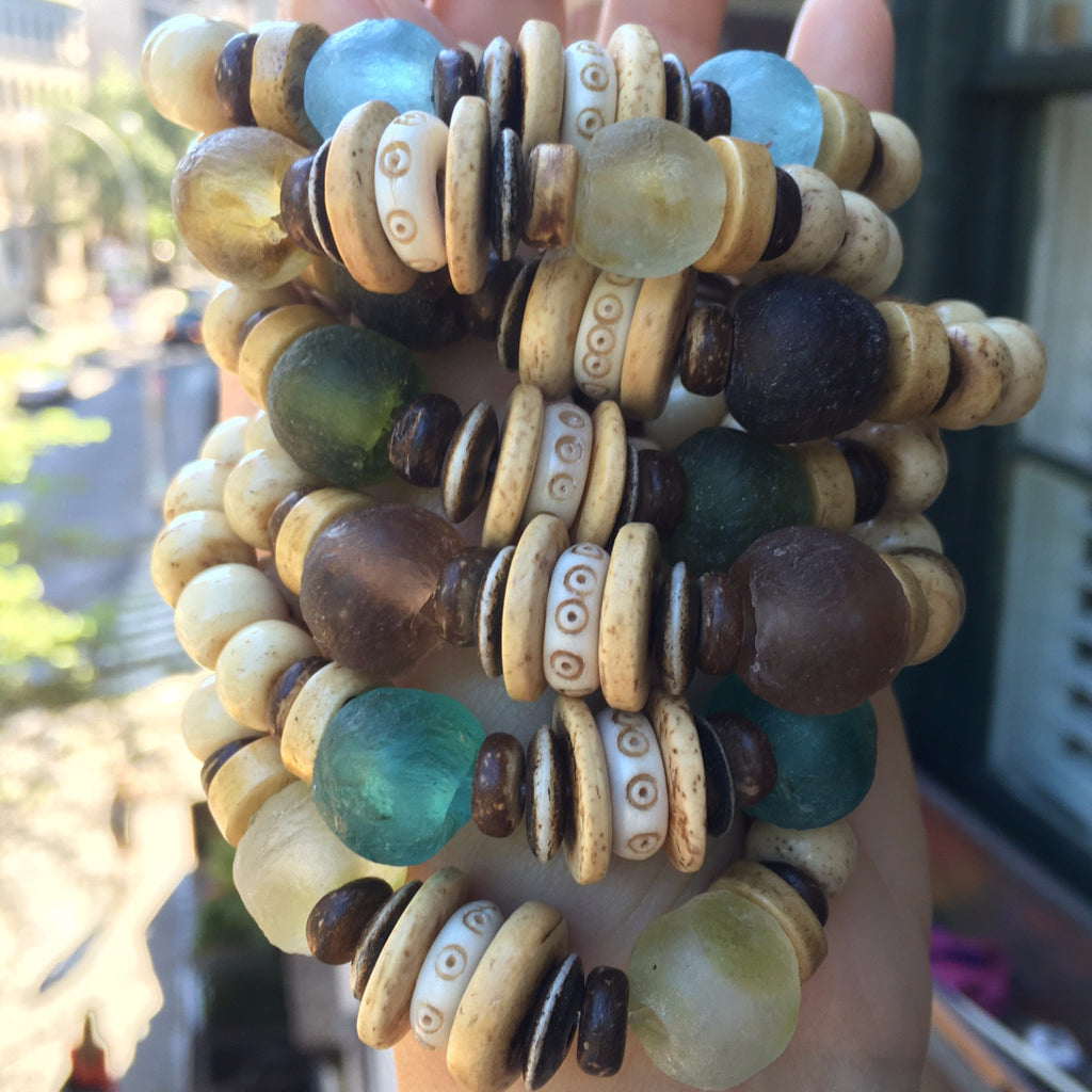 Ghana Glass Stack | Sand - burnmark