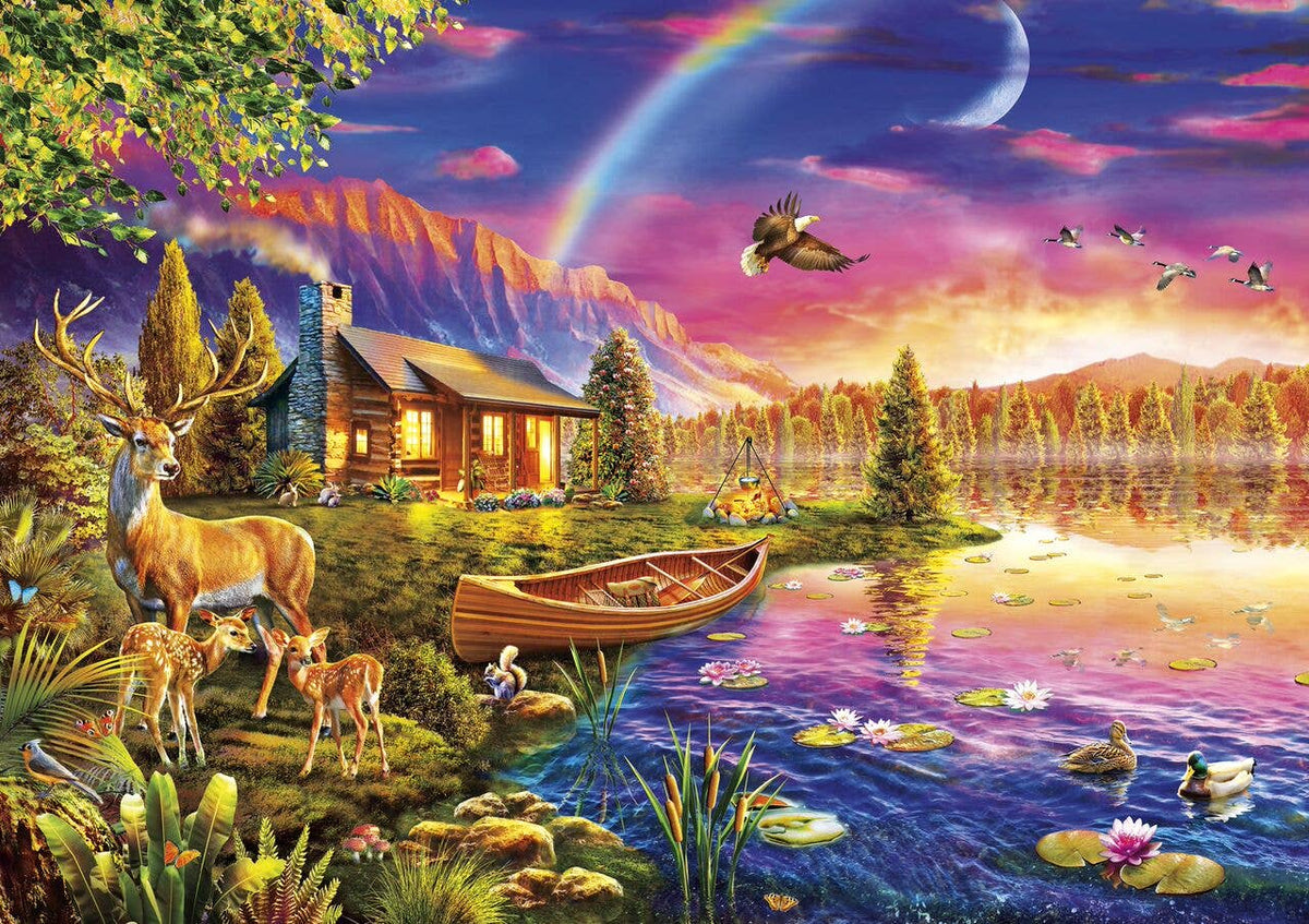 Buffalo Games & Puzzles - Lakeside Cabin 300 Large Piece Jigsaw Puzzle