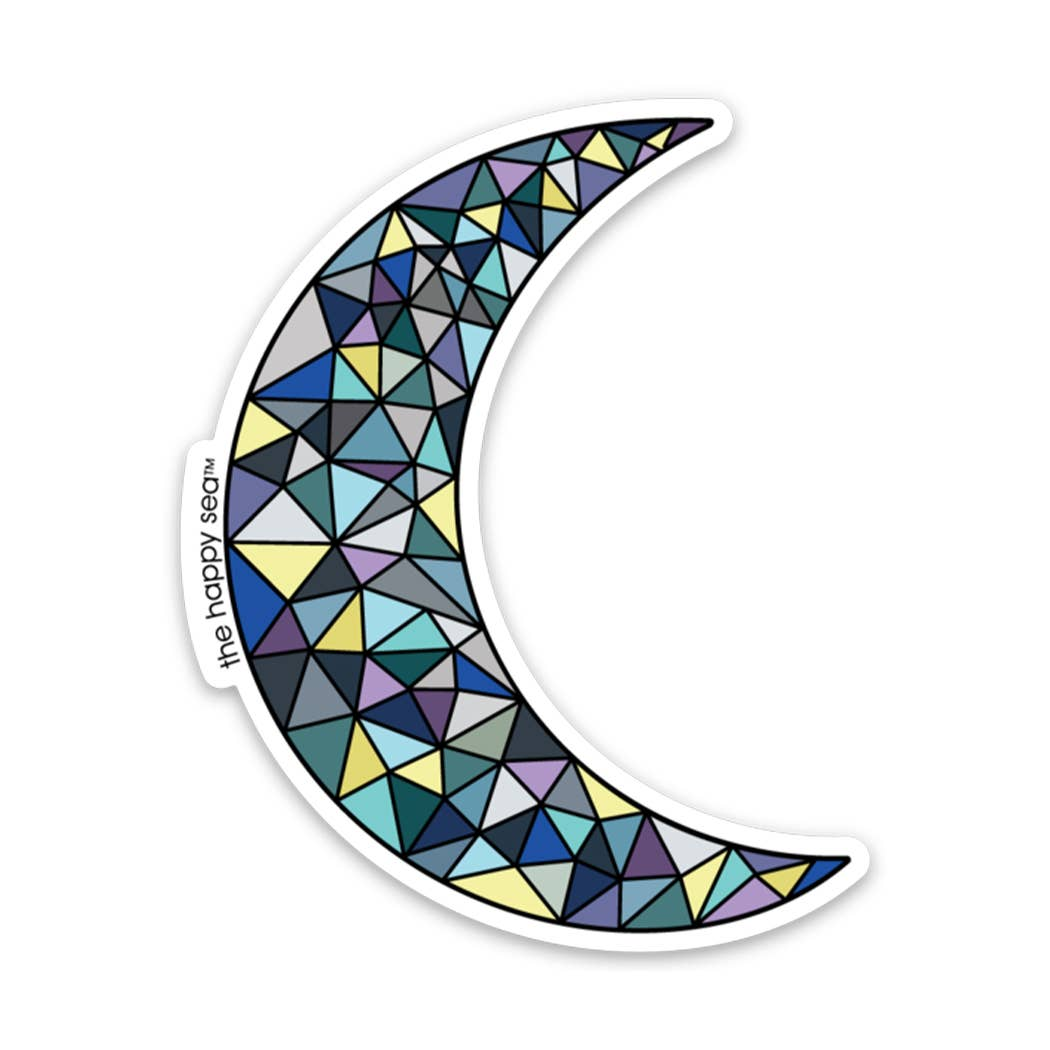"The Happy Sea - 3"" Crescent Moon Sticker"