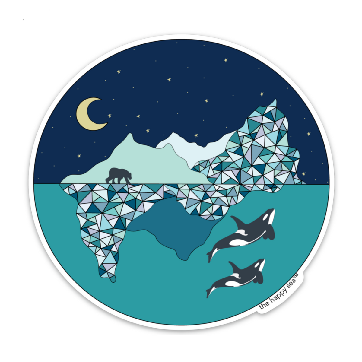 "The Happy Sea - 4"" Arctic Vinyl Sticker"