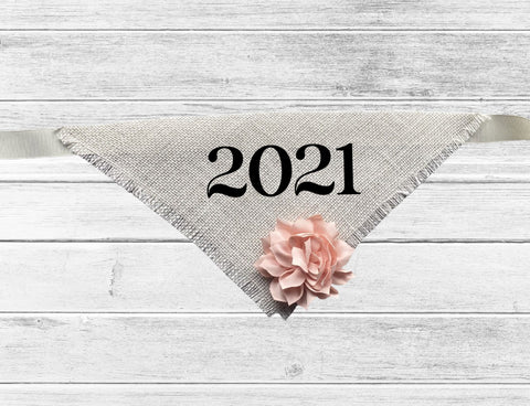 2021 Graduation Dog Bandana with Flower