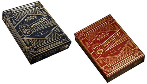 Monarchs 2-Deck Set (Red and Navy Blue) Playing Cards by Theory 11