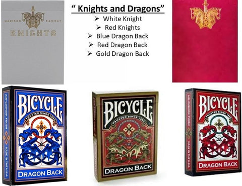 """Knight's and Dragons"" 5-Deck Playing Cards by Bicycle/Ellusionist"