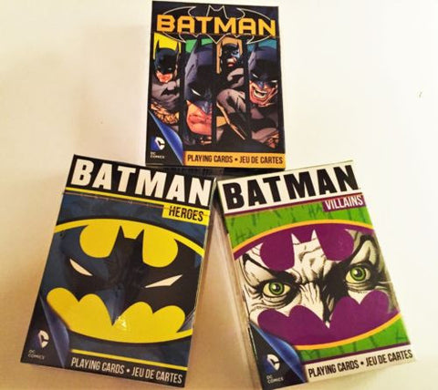 """THE GOOD, THE BAD AND THE UGLY"" 3 Playing Card Deck Set.  Batman Heroes deck, Batman Villains Deck, Batman Comic Deck"