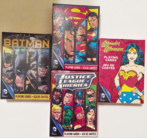 """The Justice League of America"" 4 Pack Playing Cards Deck Set."