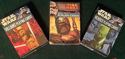 3 Decks of Star Wars Playing Cards featuring Villains, Heroes and Boba Fett!