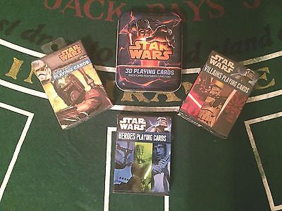4 Decks Star Wars Playing Card Set! 3D Deck, Boba Fett, Heroes, Villains!