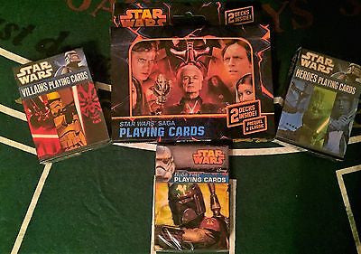 5 Deck Star Wars Playing Card Set! Saga Embossed Tin, Boba Fett,Villains,Heroes