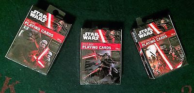 3 Decks of Star Wars: Force Awakens Playing Cards Villians, Kylo Ren, Res v. FO