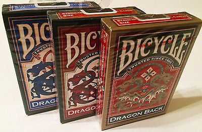3 Colors of Bicycle Dragon Decks Red, Gold, Blue