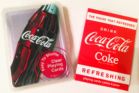 """Things Go Better With Coke"" Coca Cola Regular & Clear Plastic 2-Deck Set Playing Card by Bicycle"