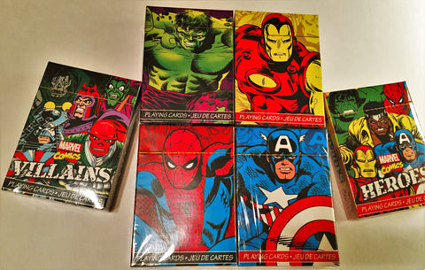 """The AVENGERS, HEROES and VILLAINS"" 6 Deck Marvel Pack."