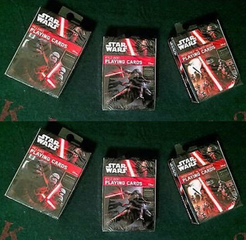 3 Decks of Star Wars: Force Awakens Playing Cards Villains, Kylo Ren, Res v. FO PLaying Cards 2-Pack Set by Cartamundi