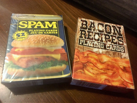 """Breakfast of the Champs"" Bacon Recipes & Spam Playing Cards by Aquarius"
