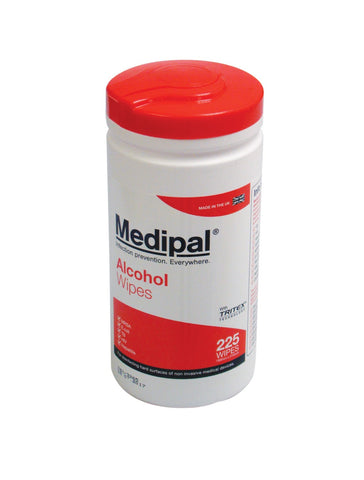 Medipal Alcohol Wipes (Tub of 225 Wipes) - First Aid - UK