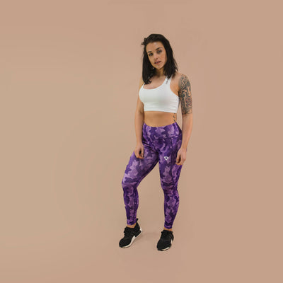 Merakilo Women's Honeycomb Camo Leggings- Purple - merakilo
