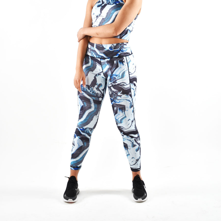 Bottoms & Leggings - Merakilo Women's Liquid Leggings - Blue/ White