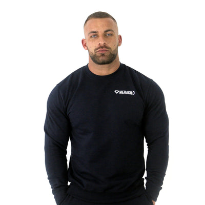 Merakilo Men's Crew Neck Jumper- Navy - merakilo
