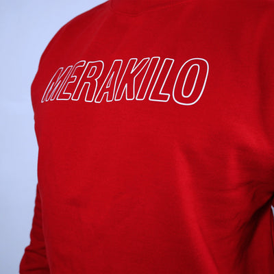 Hoodies & Jackets - Merakilo Men's Crew Neck Silhouette Jumper- Red
