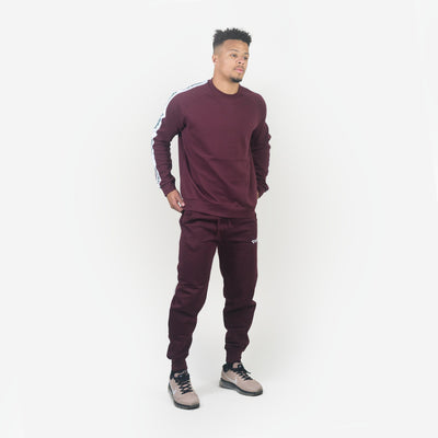 Hoodies & Jackets - Merakilo Men's Tape Crew Neck Jumper- Burgundy