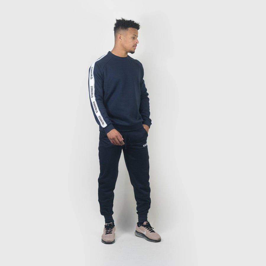 Hoodies & Jackets - Merakilo Men's Tape Crew Neck Jumper- Navy