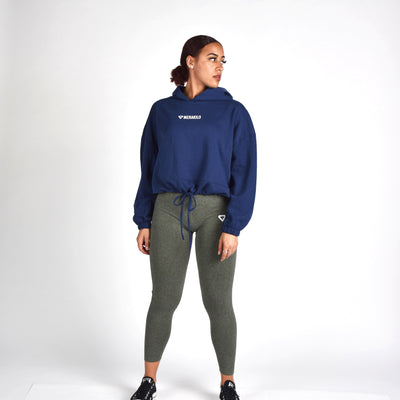 Jackets & Hoodies - Merakilo Crop Draw String Hoodie - Blue