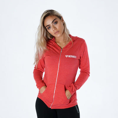 Merakilo Lithe Full Zip Hooded Jacket - Red Marl - merakilo