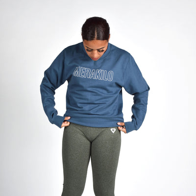 Jackets & Hoodies - Merakilo Women's Crew Neck Jumper- Air Force Blue