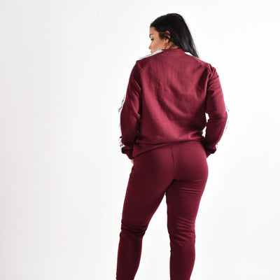 Jackets & Hoodies - Merakilo Women's Tape Crew Neck Jumper- Burgundy