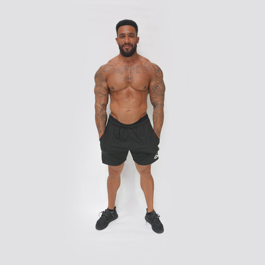 Mens Shorts - Merakilo Fitness Shorts - Black