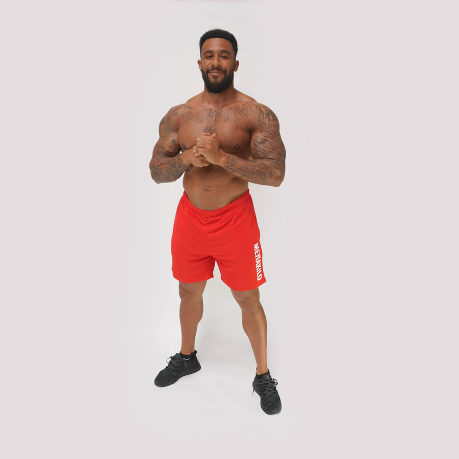 Mens Shorts - Merakilo Fitness Shorts - Red