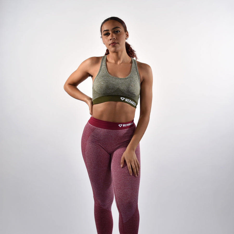 Sports Bra - Merakilo Fusion Seamless Sports Bra - Khaki