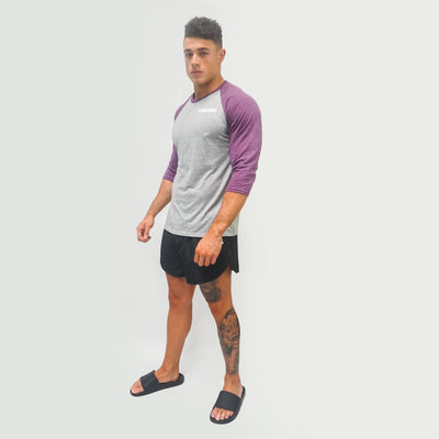 Merakilo Men's Contrast Tee - Heather/ Purple - merakilo