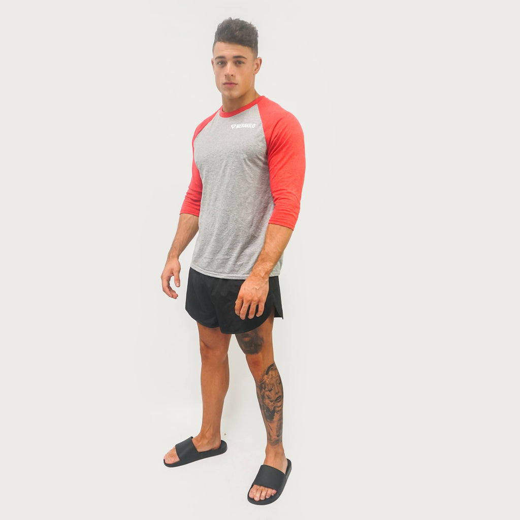 Merakilo Men's Contrast Tee - Heather/ Red - merakilo